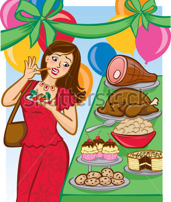 stock-vector-vector-illustration-of-a-woman-avoiding-a-tempting-holiday-buffet-by-eating-healthy-small-portions-62807857