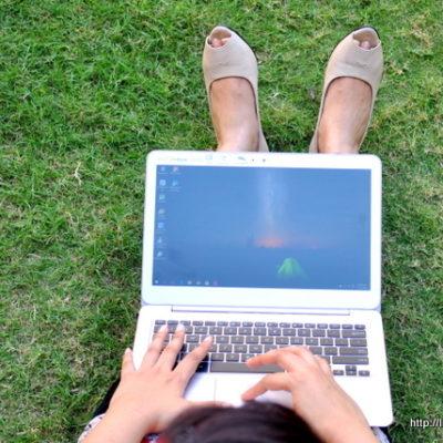 Laptop in Garden